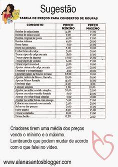 Alana Santos Blogger: Dicas de como colocar preço nas suas costuras Alana Santos Blogger
