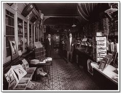 The interior of Frank R. Smith's drug store circa 1920.  Brussels, Ont.