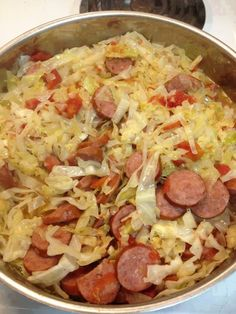 FRIED CABBAGE WITH SAUSAGE (great for low carbers) 1 stick butter or margarine 1 small head of cabbage, chopped 1 small onion, chopped 1 pound smoked sausage, sliced into round pieces (I use turkey) 1 ounce) can diced tomatoes or rotel tomatoes te Pork Recipes, Cooking Recipes, Healthy Recipes, Fried Cabbage Recipes, Cooking Ideas, Cooking Games, Recipies, Shredded Cabbage Recipes, Free Recipes