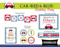 Car Birthday Party Package Printable (Red Car in Navy Blue Green Orange Colorful) - 1st Birthday Personalized