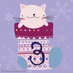 Gina Lorena Maldonado - 3 - Cat In Christmas Stoking - GM Christmas Images, Christmas Cats, Christmas Design, Christmas Time, New Years Countdown, Christmas Countdown, Christmas Greetings, Advent Calenders, Christmas Drawing