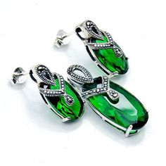 Chrome Diopside Quartz Marcasite & .925 Sterling by TheSilverPlaza