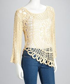 Take a look at this Cream Sheer Crocheted Long-Sleeve Top by Illa Illa on #zulily today!