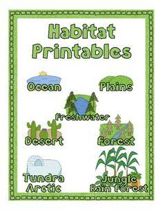 unit, habitat lessons, habitat printabl, printabl pack, worksheet ...