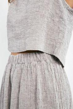 Bel Skirt in Linen Gauze Smoke