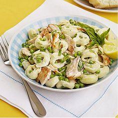 Tortellini Salad with Salmon and Peas | MyRecipes.com. Ingredients: salmon fillet, s & p, cheese tortellini, light mayo, lemon juice, frozen peas, basil