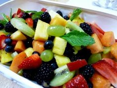 Fresh Fruit Salad. This would be pretty on the table.