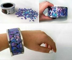 Cd mosaic diy bracelet