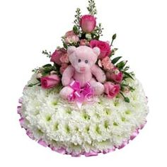 Baby Girl Funeral Wreath with Teddy Bear
