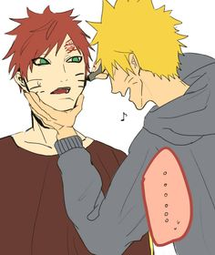 Gaara wrote love on Naruto's forehead like his, now Naruto is going to paint whiskers on Gaara