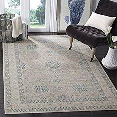 "Safavieh ""Aubry"" Vintage Inspired Rug, Grey/Blue, 154 x 228 x 0.64 cm: Amazon.co.uk: Kitchen & Home"