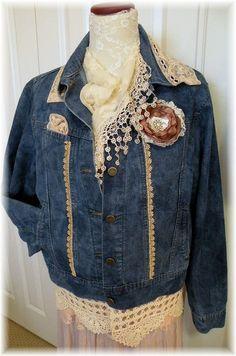$59 Gypsy Victorian boho demin upcycled jean by PrairieFarmGoods2
