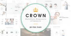 Crown - Ecommerce PSD Template . Crown – Ecommerce PSD Template  is a uniquely ecommerce website template  designed in Photoshop with a modern look. PSD files are well organized and named  accordingly so its very easy to customize and update.