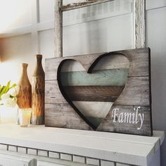 Valentines Giveaway! Rustic reclaimed wooden heart. Used pieces of scrap wood, cut out a heart shape and slatted the back of it to create a beautiful sign filled with lots of love. #reclaimedwood#valentines#rusticheart#vinyllettering#chalkpaint#woodworking#family#wallart #handmadeloft