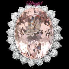 $25200 CERTIFIED 14K WHITE GOLD 30.00CT MORGANITE 3.00CT DIAMOND RING #Cocktail
