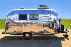 Painting Of Airstream Trailer By Leah Giberson At MassArt Auction Tiny Trailers, Airstream Trailers, Tiny House Trailer, Tiny Camper Trailer, Airstream Bambi, Retro Trailers, Vintage Airstream, Vintage Travel Trailers, Vintage Travel Posters
