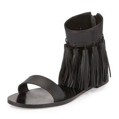 New Loeffler Randall Lark Tassel Leather Sandal