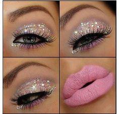 silver eye-shadow & pink lips <3