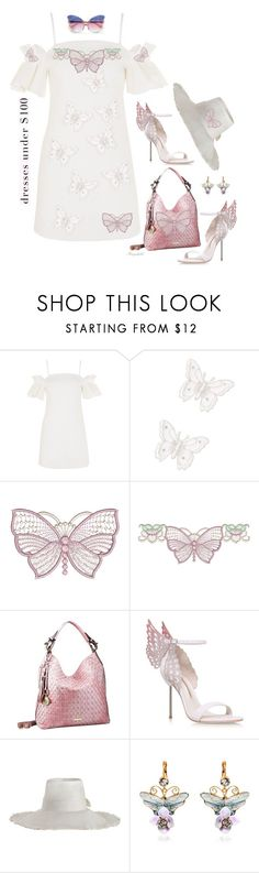 """Buy a Summer Dress under $100 and Decorate it with Butterflies!"" by ragnh-mjos ❤ liked on Polyvore featuring Topshop, MARBELLA, Sophia Webster, Zimmermann, Dolce&Gabbana and Matthew Williamson"