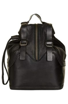 Topshop - Buckled Leather Backpack (in Black) www.nordstrom.com $160.00