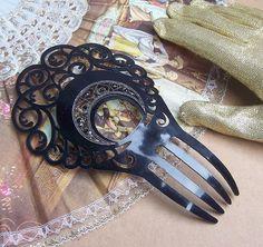 Vintage Hair Comb Black Celluloid Spanish Mantilla Style Hair Accessory
