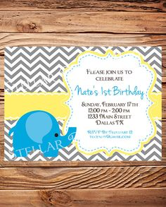 Elephant Birthday Party Invitation, BOY, GIRL, Birthday Party, Pink, Blue, Chevron Stripes, Printable, Digital. $20.00, via Etsy.