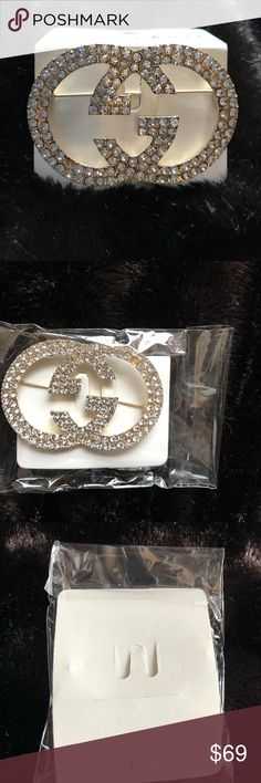 GUCCI -like GG Rhinestone 💎 NEW Designer Pin This is new & never used still in wrapping! This is a high end designer replica. Very well made and strong and ready to be worn & rocked!! This is so unique, rare, stylish, cool, fun and chic as hell! Wear this pin on a hat, scarf, top, jacket, vests, purse etc... day to night, casual to dressy, and a Gucci classic piece. Gucci pins in store range from $500-$2000! Missing 1 stone. Will make Less $$ on Ⓜ️ercari, just ask and will make a special…