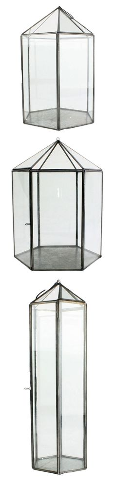 """WANT IT :: SHOP :: HomArt Pierre Metal and Glass Terrarium :: $40.80 - 65.74 (Free ship) :: amazon.com :: [Top to bottom: Small ($52.00) 9"""" x 11.5"""" & fits 4"""" candle...Large ($65.74) 9.5"""" x 14.5"""" & fits 5"""" candle...Tall ($40.80) 5.5 x 15"""" & fits 5"""" candle] 6 sided terrarium/lantern w/ zinc frame & glass panes inspired by French antiques. Metal hook @ top. 1 pane is hinged for interior access. :: I really love that tall one but I'll take any one of these guys! 