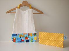 Serviette élastique camions en tissu éponge nid d'abeille et coton jaune