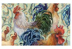 In the Kitchen  S/12 Rooster Placemats  DeColores    Belle Banquet