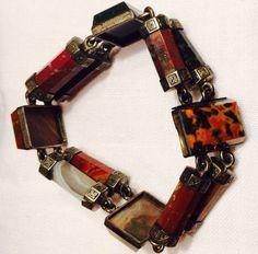 Antique Scottish Agate Silver Bracelet