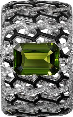 Cartier High Jewelry bracelet, white gold, peridot, black enamel, diamonds