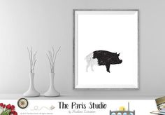 Instant Download Digital Art: Pig black and white minimalist wall art