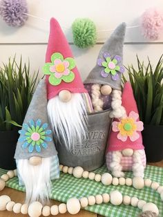 Our darling Gnomes are right on trend ! Bottoms are lightly weighted so they sit well. Hat can be shaped by inner wire. Family includes four Gnomes , approx tall. Includes 2 boys and 2 girls. Other home decor shown is not included. Crafts To Sell, Diy And Crafts, Crafts For Kids, Spring Crafts, Holiday Crafts, Girl Gnome, Diy Ostern, Christmas Gnome, Craft Show Ideas