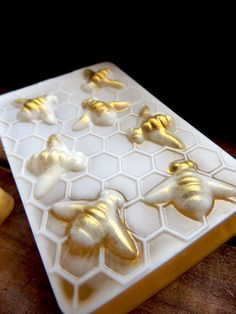 From the request of several customers, we have created these beautifully detailed honey bee soaps, lightly shimmered to show off the gorgeous