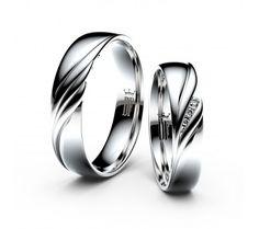 Snubní prsteny z bílého zlata s brilianty, pár - 3044