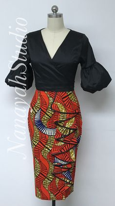 african print dresses INCLUDED: One skirt DETAILS: This skirt is lined with side flounce over thigh slit. Finished length 31 inches without waistband. Specify desired finished African Print Pencil Skirt, African Print Dresses, African Print Fashion, Africa Fashion, African Prints, African Fabric, Tribal Fashion, Womens Fashion, African Attire