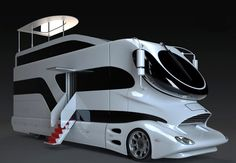 The Elemment Palazzo Luxury RV by Marchi Mobile. It's 38 ft long and 13 ft 6 in. tall, weighs over 10 tons!!!! Its aerodynamic design results in up to 20 percent reduction in fuel consumption.  Max 530 horsepower turbo charged diesel engine, rear diffuser and a double tube sport exhaust.  The width can slide out to enlarge space by 80%