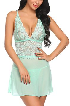 dbb1b35db42 Women Lingerie Halter Chemise Lace Babydoll Mesh Nightwear