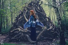 Blue Butterfly Fairy cape cloak blue and black от CostureroReal