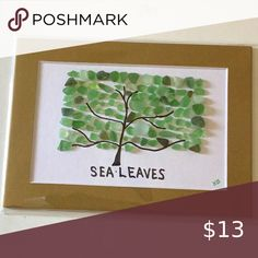 Sea leaves sea glass art Tree created with green sea glass matted on white and brown. Wall Art Art & Decals Beach Theme Wall Decor, Western Wall Decor, Sailboat Art, Graffiti Wall Art, Floral Drawing, Inspirational Signs, Sea Glass Art, Wooden Wall Art, Pebble Art