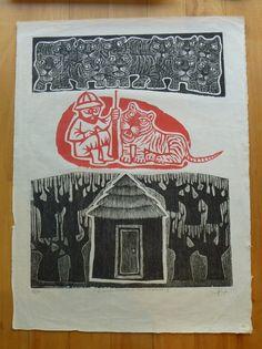 El hombre sitiado por los tigres III, xilografía de L. González