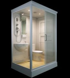 Modular bathrooms - ALL IN ONE Flat Pack Modular Shower Room,Toilet, Basin Assembled size 140 x 110 Tiny Bathrooms, Tiny House Bathroom, Bathroom Toilets, Bathrooms 2017, Wc Compact, Mini Bad, Portable House, Small Toilet, Tiny House Living