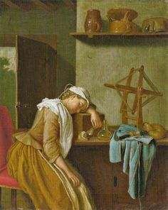 Peter Jakob Horemans ( 1700 – 1776 ) Detail: kitchen, maid, food, bread, wine glass, door, latch, glass bottle, spool, apron, yarn winder, jar, ceramic cooking pot with lid, shelf, chair