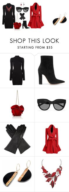 """""""clasic red and black"""" by tekla-kowalczyk on Polyvore featuring moda, adidas Originals, Gianvito Rossi, Nina Ricci, Le Specs, Dents i WithChic"""