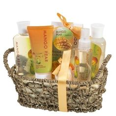 Bath Spa Gift Set Woven Antique Basket Gel Salt Lotion Body Spray Bathroom Decor #BathSpaDecor
