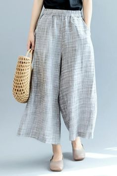 8d066527e69 Fashion Gray Wide Leg Pants Women Linen Trousers K2561 Linen Trousers