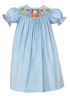 Smocked and appliqued children's clothing