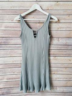Tamia Gray Ribbed Dress