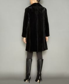 The Fur Vault Fox-Fur-Trim Hooded Mink Fur Coat - Black XL